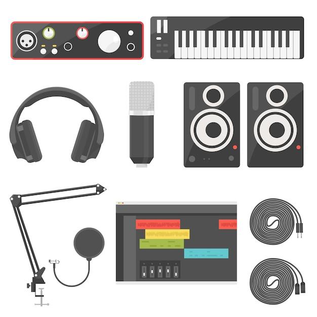 Thuisopname-apparatuur voor muziekproductie audio-interface, midi-toetsenbord, hoofdtelefoonmonitor, microfoon, luidspreker, akai en xlr-kabel en software digitale audiogolfvorm. Premium Vector