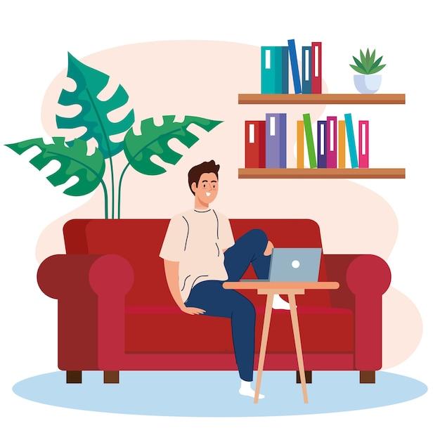 Thuiswerken, freelancer jonge man met laptop op de bank, thuiswerken in een ontspannen tempo, handige werkplek Premium Vector