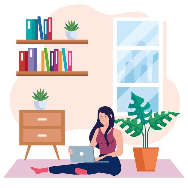 Thuiswerken, freelancer jonge vrouw zittend in de vloer, werken vanuit huis op ontspannen tempo, handige werkplek Premium Vector