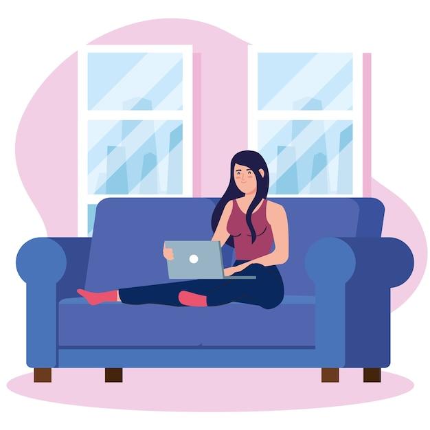 Thuiswerken, freelancer vrouw met laptop op de bank, thuiswerken in een ontspannen tempo, handige werkplek Premium Vector
