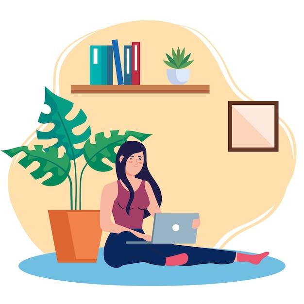 Thuiswerken, freelancer vrouw zittend in de vloer, thuiswerken in een ontspannen tempo, handige werkplek Premium Vector
