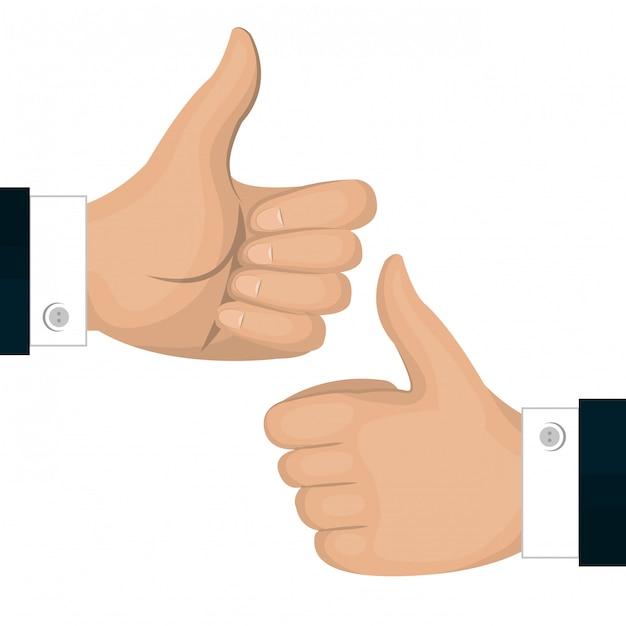 Thumbs up pictogram gebaar terug en voorzijde geïsoleerd Premium Vector