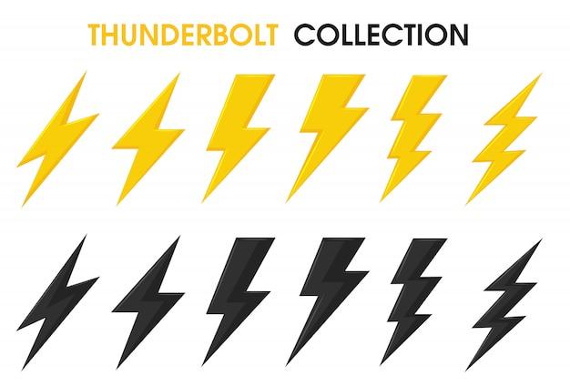 Thunder and bolt lighting flits vector verzameling set. Premium Vector