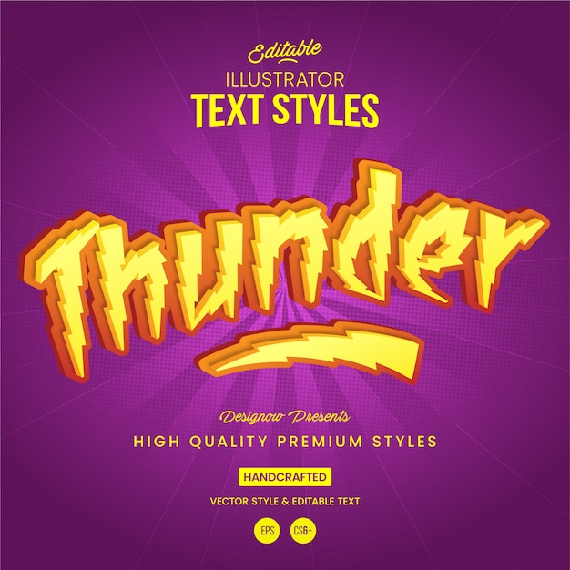 Thunder and lightning text style Premium Vector