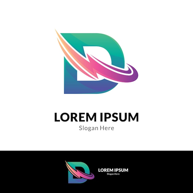 Thunder letter d logo concept sjabloon Premium Vector