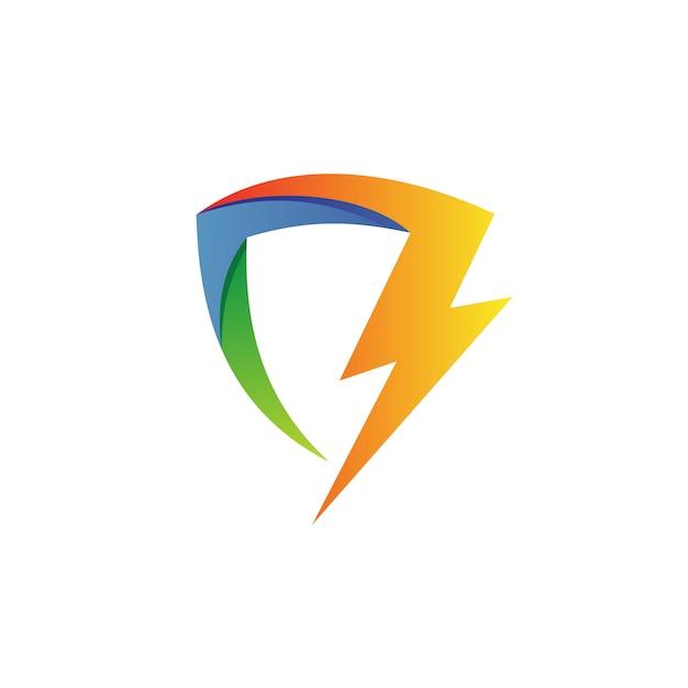 Thunder shield logo vector Premium Vector
