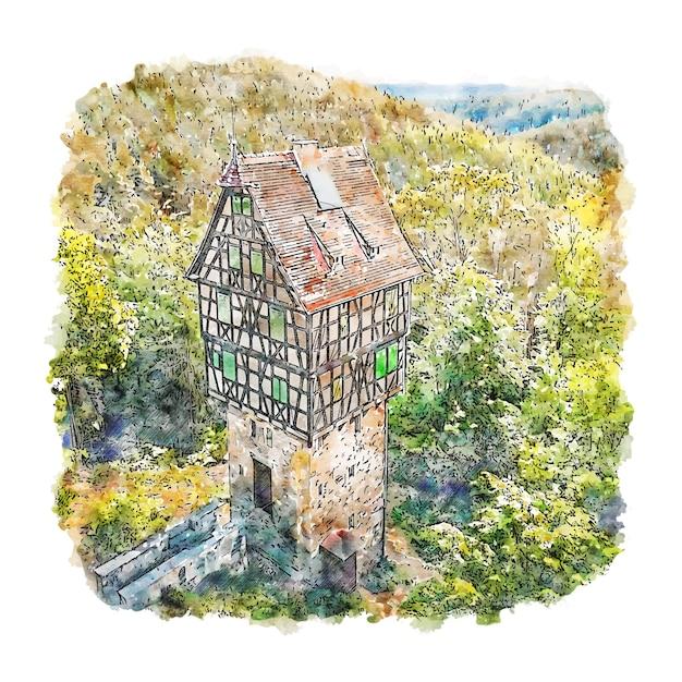 Thuringen duitsland aquarel schets hand getrokken illustratie Premium Vector