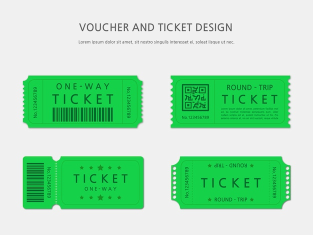 Ticket of voucher sjabloonontwerp Premium Vector