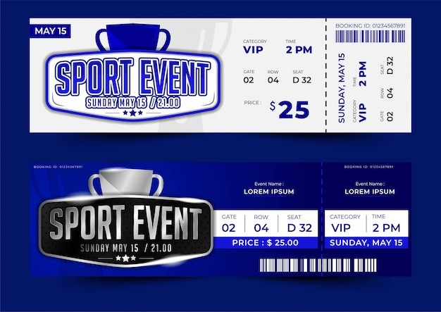 Ticket sjabloonontwerp voor sportevenement met eenvoudige lay-out, zilveren kleur Premium Vector