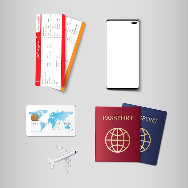 Tickets en paspoort voor reizen Premium Vector