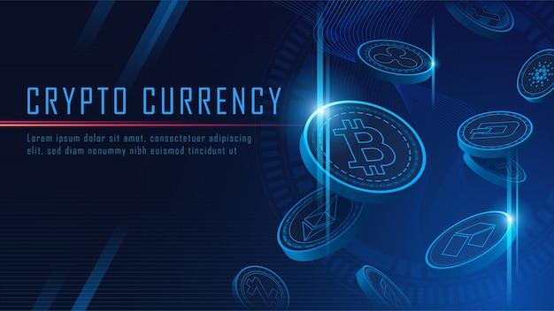Tien beroemde cryptocurrency munten 3d vliegende achtergrond Premium Vector