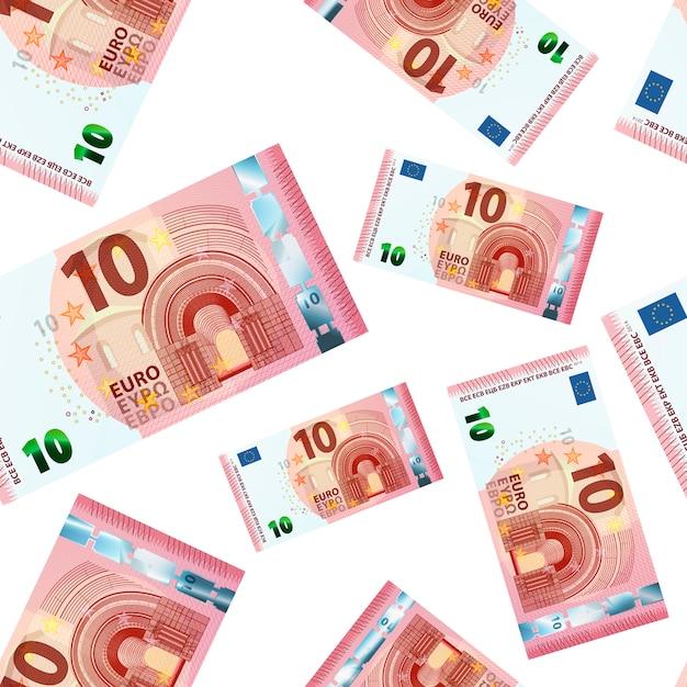 Tien euro bankbiljetten naadloos patroon Premium Vector