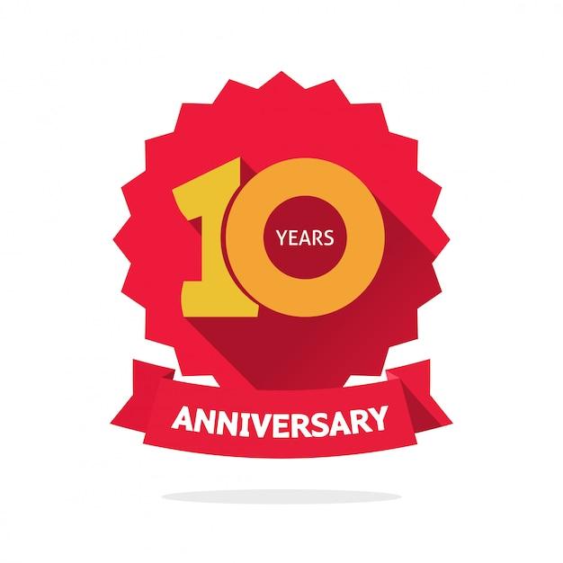 Tien jaar verjaardag vector label Premium Vector