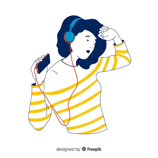 Tiener die aan muziek in koreaanse tekeningsstijl luistert Gratis Vector