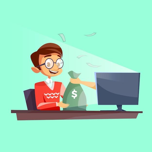 Tiener die geld in internet-beeldverhaal wint. jonge jongens gelukkige ontvangende dollars Gratis Vector