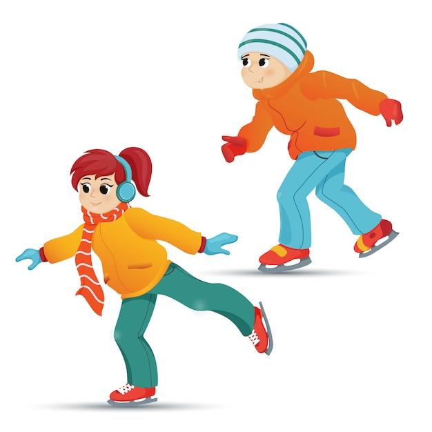 Tiener en meisje schaatsen, wintersport Premium Vector