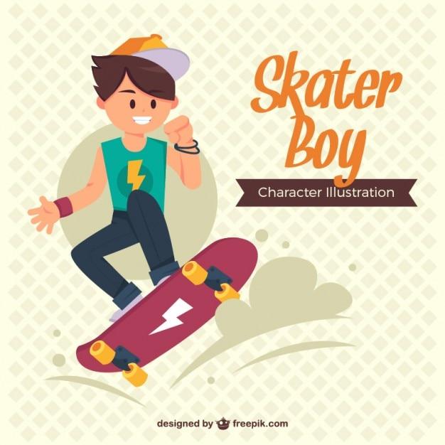 Tiener genieten met zijn skateboard Premium Vector