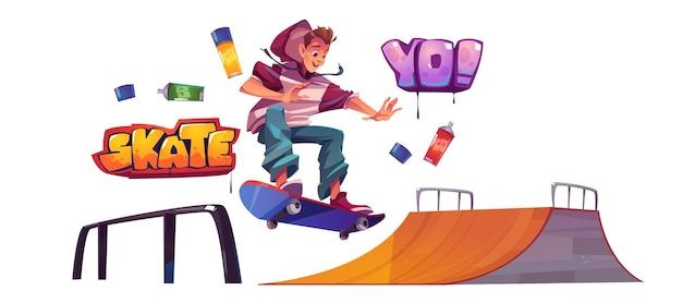 Tiener in skatepark of rollerdrome voert skateboard-springstunt uit op de quarter pipe-helling. extreme sport, graffiti, stedelijke jeugdcultuur en tieneractiviteit op straat, cartoon vectorillustratie, afbeelding instellen Gratis Vector