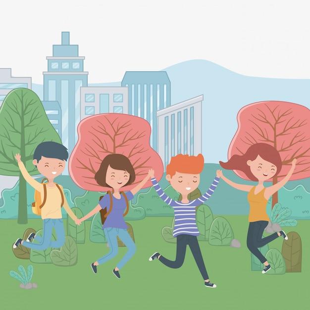 Tiener jongens en meisjes cartoons Gratis Vector