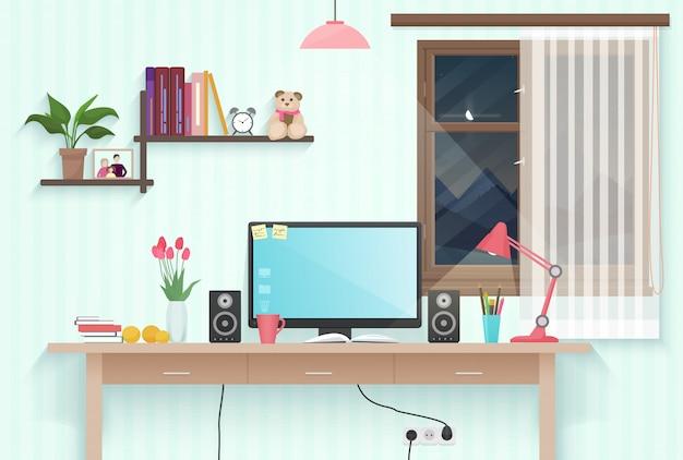 Tiener meisje kamer werkplek Premium Vector
