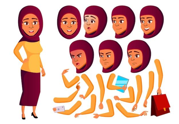 Tiener meisje karakter. arab. creatie constructor voor animatie. gezichtsemoties, handen. Premium Vector