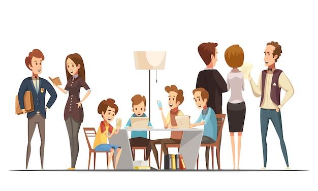 Tienerjongens die met notitieboekjeslaptops en smartphones in onderwijsmedia retro vectorillustratie van het centrumaffiche beeldverhaal zitten Gratis Vector
