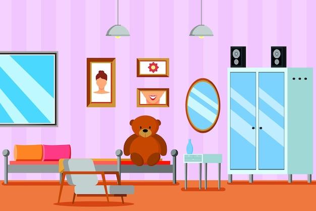 Tienerkamer voor meisjes vlakke compositie met meubelspiegel en foto's op lila muur Gratis Vector