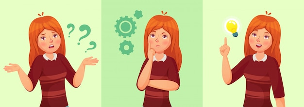 Tienermeisje denkt, verwarde jonge vrouwelijke tiener, nadenkende studente en het beantwoorden van vraagbeeldverhaal Premium Vector