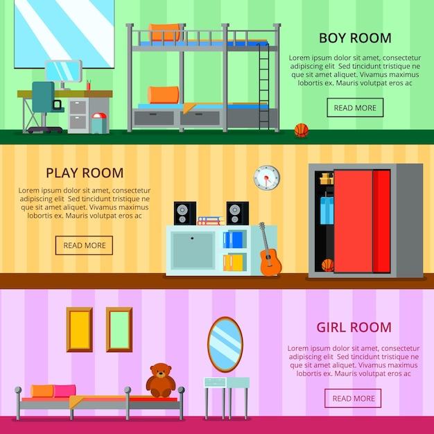 Tienerruimte voor meisje en voor jongens speelruimte set platte horizontale banners geïsoleerd Gratis Vector