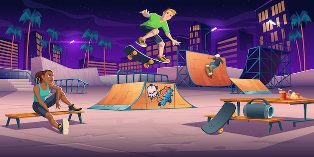 Tieners in het nacht skatepark, rollerdrome voeren skateboard-springstunts uit op pijphellingen en ontspannen. extreme sport, graffiti, stedelijke jeugdcultuur en tienerstraatactiviteit, cartoonillustratie Gratis Vector