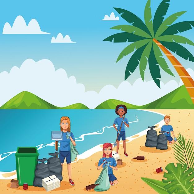 Tieners strand schoonmaken Premium Vector