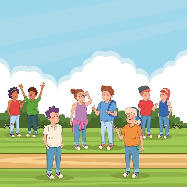 Tienersvrienden in de parkbeeldverhalen Gratis Vector