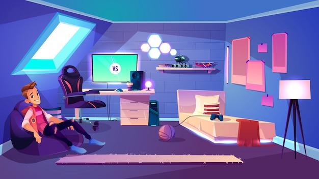 Tienerzitting in comfortabele zakleunstoel in zijn comfortabele ruimte op het beeldverhaalvector van de huiszolder Gratis Vector