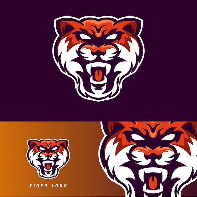 Tiger esport gaming mascotte embleem Premium Vector