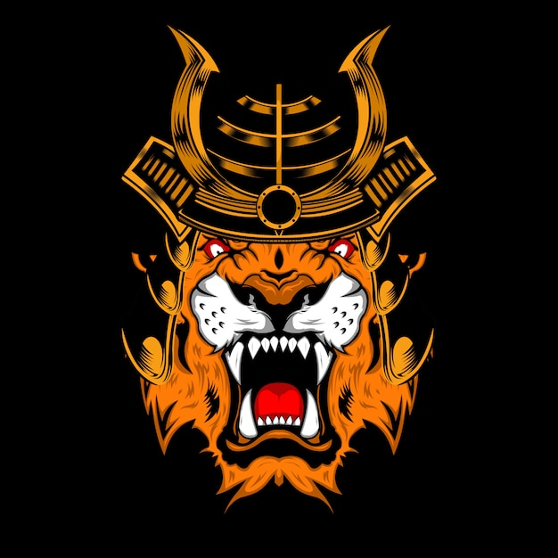 Tiger samurai Premium Vector
