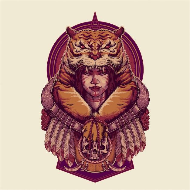 Tigres koningin illustratie Premium Vector