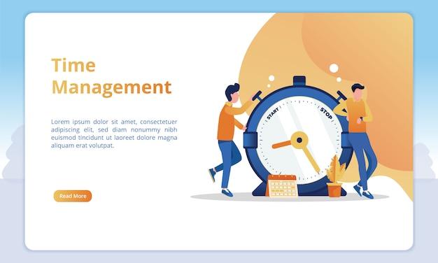 Tijd beheer illustratie voor zakelijke landingspagina sjablonen Premium Vector