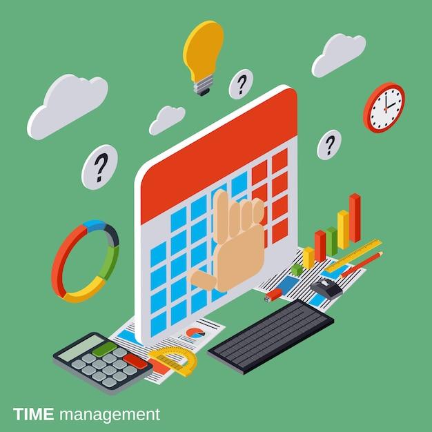 Tijd beheer platte isometrische concept illustratie Premium Vector
