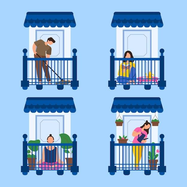 Tijd doorbrengen op het balkon in quarantaine Gratis Vector