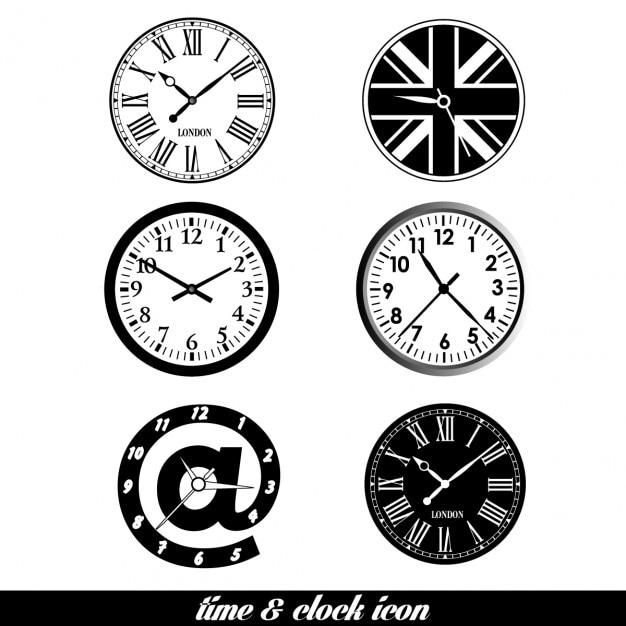 Tijd en klok achtergrond set design element Gratis Vector