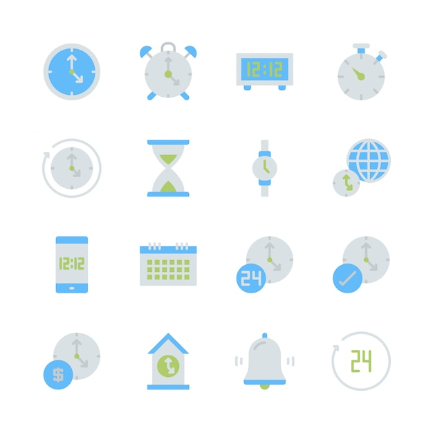Tijd en klok in platte pictogram decorontwerp Premium Vector