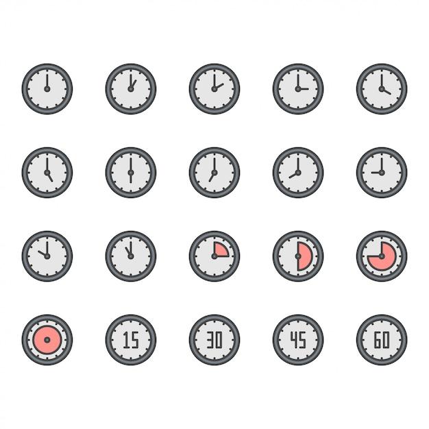 Tijd en klok pictogram en symbool set Premium Vector