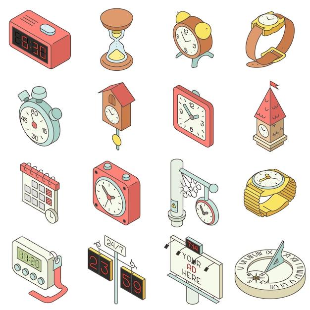 Tijd en klok pictogrammen instellen. isometrische illustratie van 16 tijd en klok vector iconen voor web Premium Vector