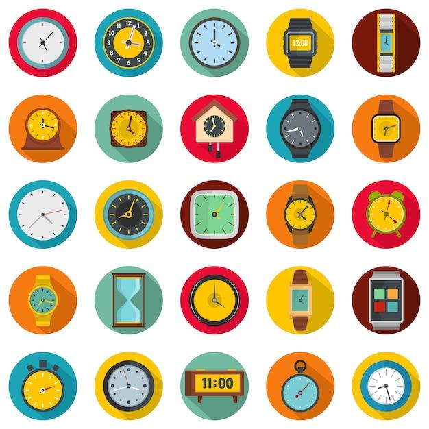 Tijd en klok pictogrammen instellen, vlakke stijl Premium Vector