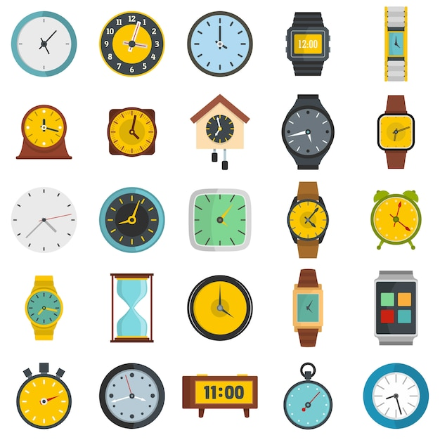 Tijd en klok pictogrammen instellen Premium Vector
