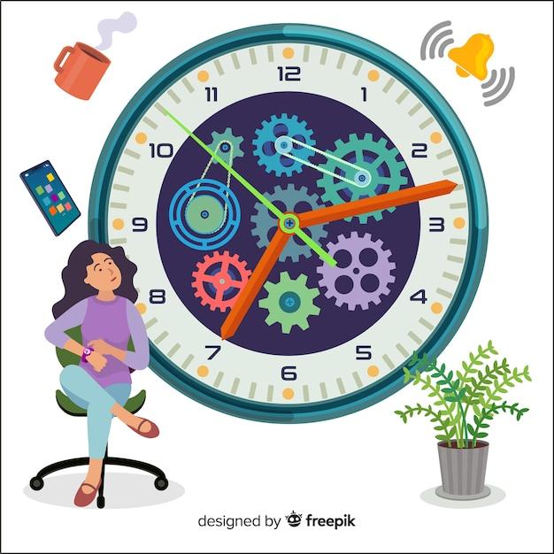Tijd management concept bestemmingspagina Gratis Vector