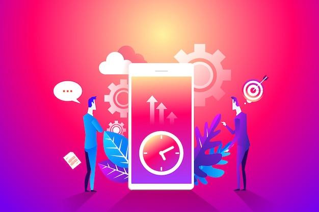 Tijd management concept. flat characters organisatieproces. Premium Vector