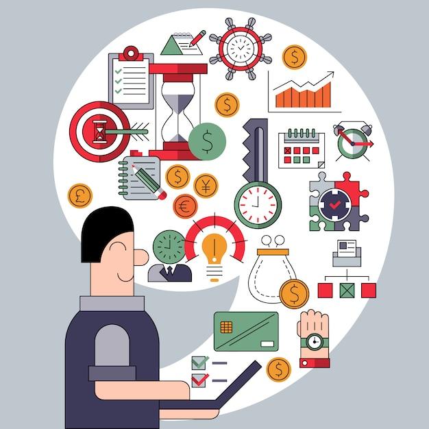 Tijd management concept met elementen samenstelling Gratis Vector