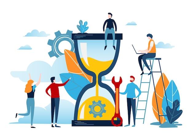 Tijd management concept. Premium Vector