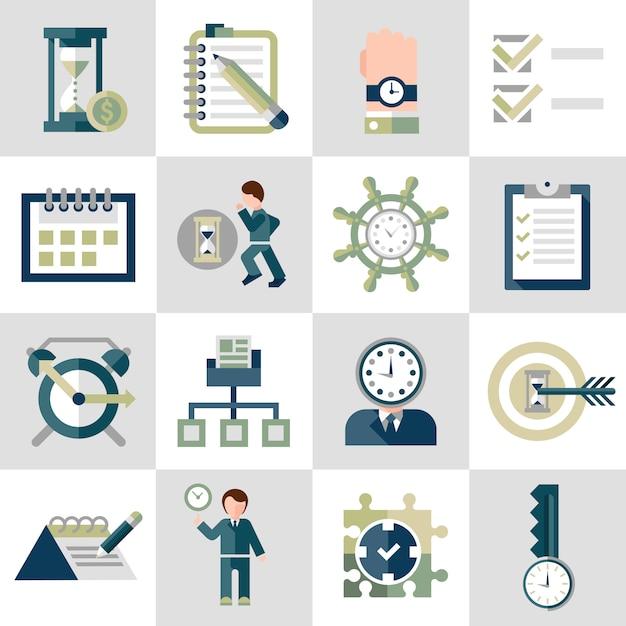 Tijd management pictogrammen instellen Gratis Vector